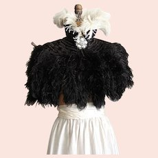 Exquisite Antique Ostrich Feather Cape with Tails One Size