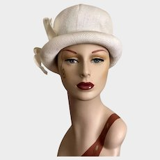 "Vintage 1970s Mr. John Hat Mod Woven Straw Size 21"""