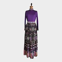 Vintage 1970's Valentina Maxi Skirt and Top Sequin Embellished