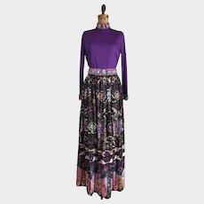 Vintage 1970's Valentina Maxi Skirt and Top Sequin Embellished