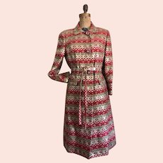 Vintage Rizik Bros. Metallic Brocade Dress Coat