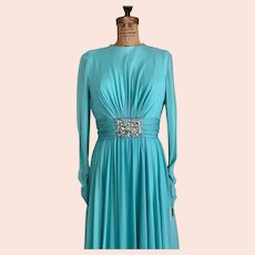 Ethereal 70's Silk Gown Designer  Evening Dress  Rhinestone Embellishment