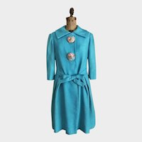 Vintage 'Made in Italy'  Bright Turquoise  Designer Coat  Size Medium