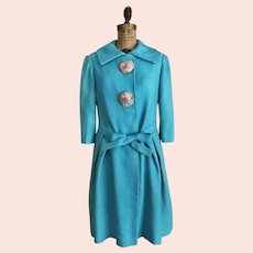 Vintage 'Made in Italy'  Bright Turquoise  Designer Coat  Size Medium