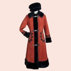 Vintage 1970's Russian Princess Coat Hippie Coat Faux Fur Size M
