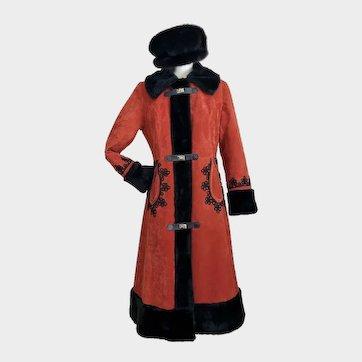 Vintage 1970's Russian Princess Coat Hippie Coat Faux Fur Size M