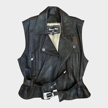 Genuine Western 'Patricia Wolf' Leather Vest  Made in Texas Distressed  Size Large
