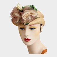 Antique Straw Hat  Silk Roses One Size