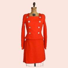 S/S 1994 Gianni Versace Couture Orange Military Suit Living Gianni Versace  Designer Suit Size 40