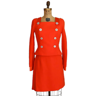 S/S 1994 Gianni Versace Couture Orange Military Suit Living Gianni Versace  Designer Suit Size 40