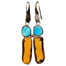 Sterling Silver Turquoise and Butterscotch Amber Earrings