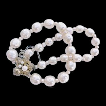 Older Miriam Haskell, Double Stranded Pearl Bracelet