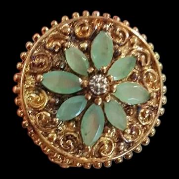 China Export, Silver Gilt Jade Ring