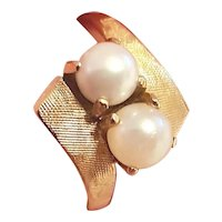 14KYG Natural Saltwater Bypass Pearl Ring
