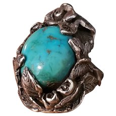 Beautifully Designed, Arts and Crafts Sterling Ring with Natural Turquoise Stone