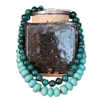 Fashionable Double Beaded Faux Turquoise & Green Glass Necklace