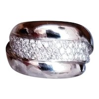 "Designer ""SONIA B"" (Bitton) 14KWG Diamond Pave' Ring"