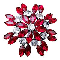 Deep, Dark, Rich, Red Navettes & Rhinestones Pin
