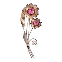Pretty in Pink,  Sterling Silver Mid Century Brooch/Pin