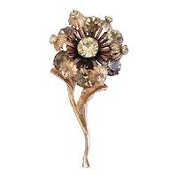 Interesting 3 Dimensional Rhinestone Flower with Stem Brooch/Pin