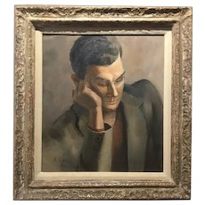 Stephen Morgan Etnier; American Modernist School; Portrait of a young Man; Oil on Canvas, 1941