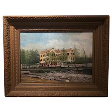 19 th Century American School; New England Hotel, Oil on Canvas, 1885