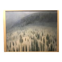 "George Grammer Vintage Modernist Abstract Oil on Canvas ""Winter Valley"", ca. 1970's"