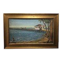 Vintage American Regional Painting - Southern Beach Scene
