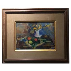 Vintage American Modernist Still Life Oil on Canvas - Listed Artist Helen Wolf