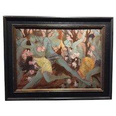 Vintage Art Deco Dance  Ballet Oil Painting - Very Stylish Scene