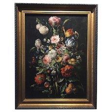 Antique Dutch School Floral Still Life; 18th Century