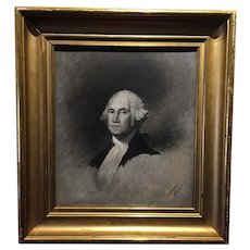 19th Century George Washington Portrait, en grisaille. Signed