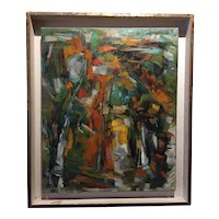 French Modernist Abstract Oil on Canvas - Vintage Mid Century Modern