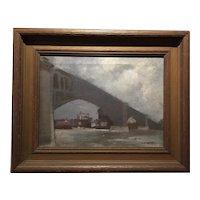 Vintage Painting - Bridge at Saint Louis, Missouri Oil on Canvas; Signed Charles Marks, ca. 1930's