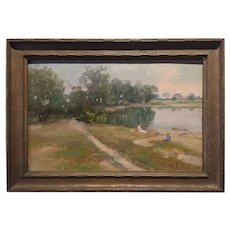 American Impressionist Antique Painting; Cleveland Artists Exhibition Label, dated 1911