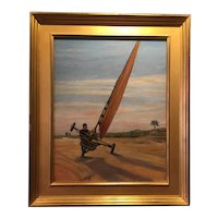 Rare Vintage Land Sailing Beach Painting - Oil on Board
