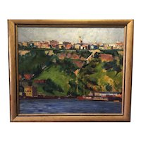 Vintage WPA Era American Regional City Scene Oil on Canvas- Pittsburg?