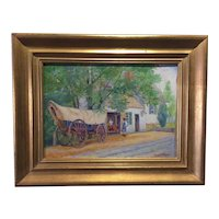 Vintage Henry Fritz Oil on Board - Williamsburg, Virginia Scene