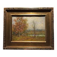 Vintage American Impressionist Oil Painting, dated 1924