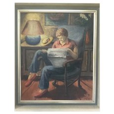 Vintage Alzira Peirce Self Portrait Oil Painting; wife of Waldo Peirce, likely Maine, 1937