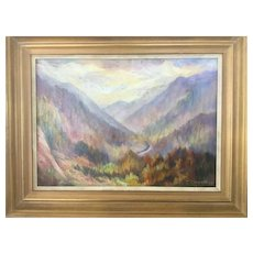 Vintage Southern Oil on Board Painting; Nantahala River, North Carolina