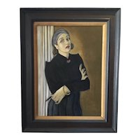 Vintage American School Oil Painting; Portrait of a Stylish Woman WPA Period