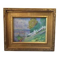 American Impressionist Oil Painting - Summer Shore Scene 1926