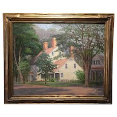 Ethel Easton Paxton; American Impressionist Oil; Clinton, Connecticut historic house, ca 1920