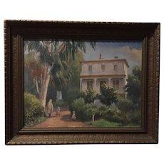Vintage Oakland California Fruitwood Mansion Oil Painting by Albert Sheldon Pennoyer
