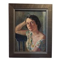 Vintage Portrait of an Alluring Woman Oil Painting, New York City, ca. 1940
