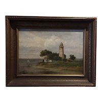 Vintage Lighthouse Painting; Oil on Canvas, ca. 1920