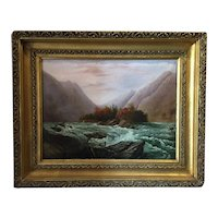 Rare Antique Southern Oil Painting - French Broad River, North Carolina, ca. 1880