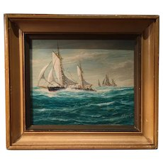 Vintage Pair of Miniature Jay Arnold Seascapes, ca 1960's