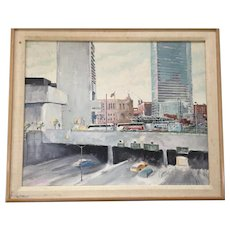 """Vintage """"South Station"""" Boston Modern Painting; Signed T. Hall, 1985"""